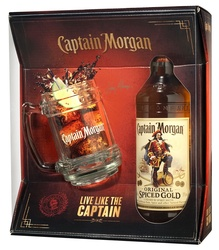 Rum Captain Morgan Spiced Gold s pohárom